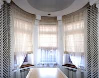 Эркерные окна пошив штор в Одессе
